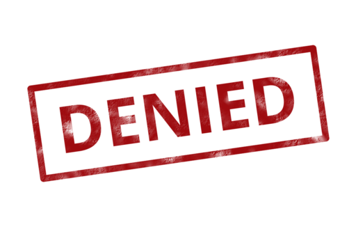Denied insurance rejected stamp