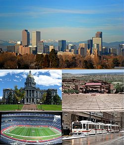 Top to Bottom, Left to Right: Denver Skyline, Colorado State Capitol, Red Rocks Amphitheater, Sports Authority Field at Mile High, RTD Light Rail train Downtown.