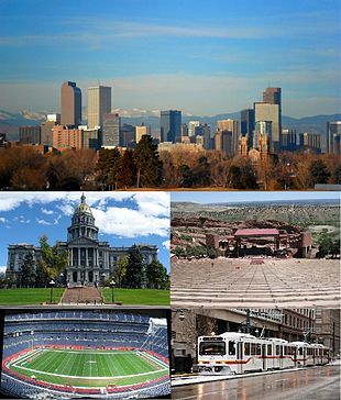 """Top to Bottom, Left to Right: Denver Skyline, <a href=""""http://search.lycos.com/web/?_z=0&q=%22Colorado%20State%20Capitol%22"""">Colorado State Capitol</a>, <a href=""""http://search.lycos.com/web/?_z=0&q=%22Red%20Rocks%20Amphitheatre%22"""">Red Rocks Amphitheatre</a>, <a href=""""http://search.lycos.com/web/?_z=0&q=%22Sports%20Authority%20Field%20at%20Mile%20High%22"""">Sports Authority Field at Mile High</a>, RTD Light Rail train Downtown."""