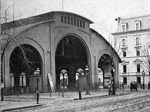 Springfield Union Station (Massachusetts) -  The first so-named Union Station constructed in 1851, ca. 1888 during its dismantlement
