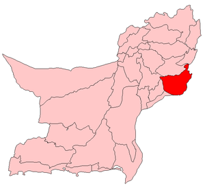 Map of Balochistan with Dera Bugti District highlighted