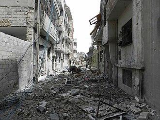 2012 Homs offensive - Neighbourhoods in Homs under artillery bombardment (8 February 2012).