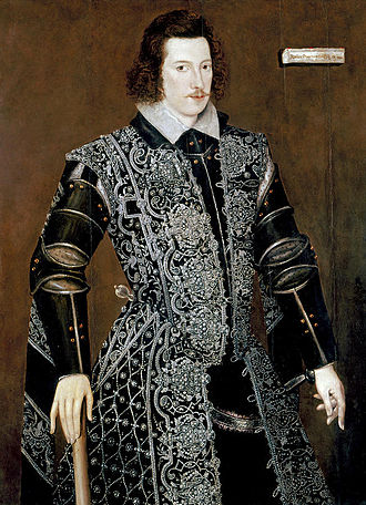 """Accession Day tilt - Robert Devereux, 2nd Earl of Essex in """"sable sad"""" armour, probably for the Tilt of 1590, by William Segar."""