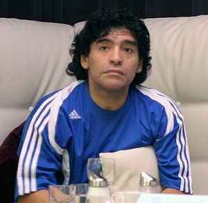 Diego Maradona watching on TV the 2006 Footbal...