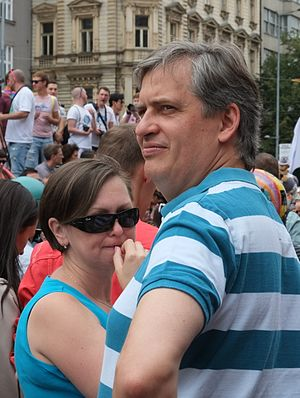Jiří Dienstbier Jr. - Minister Jiří Diensbier Jr. at Prague Pride gay parade, August 2016