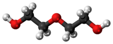 Ball-and-stick model of the diethylene glycol molecule