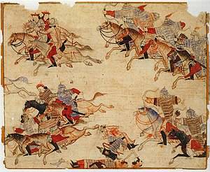 Rashid-al-Din Hamadani - Mongol cavalry pursuing their enemy.
