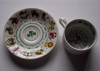 Tasseography - Zodiac cup and saucer with zodiac signs and shamrock