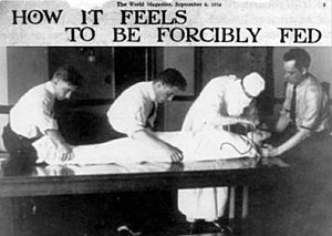 Force-feeding - Clipping from World Magazine, September 6, 1914