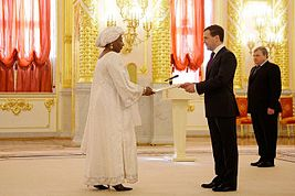 Dmitry Medvedev with Amina Djibo Bazindre.jpg