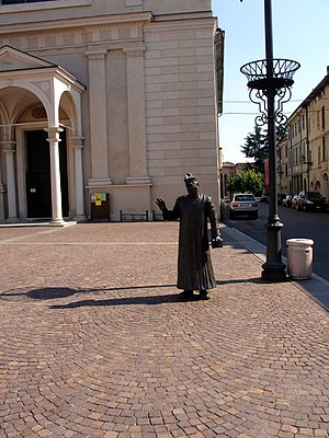 English: Don Camillo and his church in Brescel...
