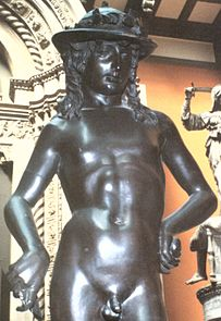 Painted plaster replica of Donatello's bronze of David.