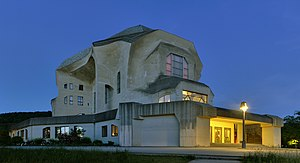 Goetheanum - Second Goetheanum, West front and North side at dusk