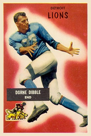 Dorne Dibble - Dibble on a 1955 Bowman football card