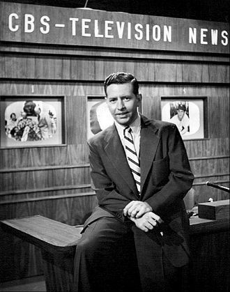 CBS News - Douglas Edwards on the CBS news set in 1952.