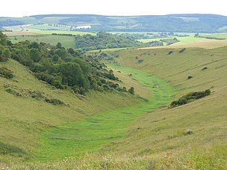 Dry valley - A dry valley near Rackham Hill, South Downs, England