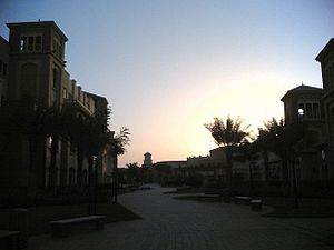 Dubai Knowledge Village - Inside Dubai Knowledge Village, by sunset.