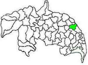 Duggirala mandal - Mandal map of Guntur district showing   Duggirala mandal (in green)