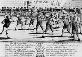 Dusack - Depiction of a German fencing school, with a pair of fencers using dussaken shown in the foreground right.