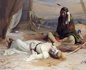 """Josephine Meeker - """"The Captive"""" 1891 picture by E. Irving Couse. Alleged either to have been based upon a incident involving a Cayuse Chief Two Crows and a 1847 Whitman Massacre survivor Lorinda Bewly or possibly upon the experience of Josephine Meeker"""
