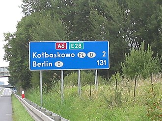 European route E28 - E 28 road sign on the A6 highway in direction of Germany-Poland border