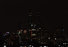 Kuala Lumpur,24/03/2013. Malaysia's landmark Petronas Twin Towers are turned off to mark Earth Hour