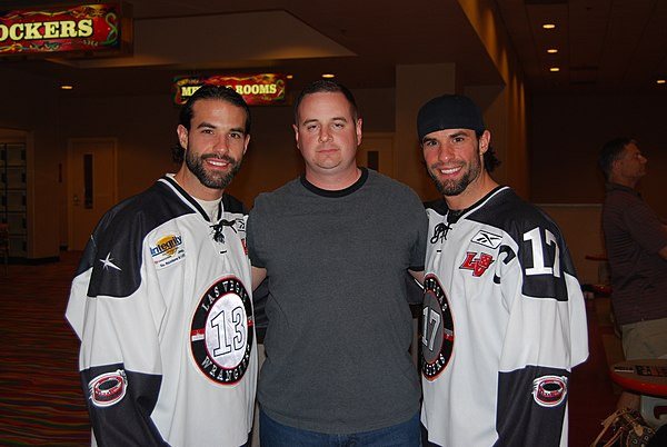 EM Me with the Ex NHLers Chris and Peter Ferraro (2326408568).jpg