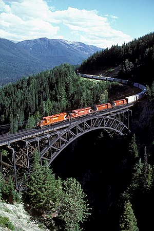 Rogers Pass (British Columbia) - Canadian Pacific Railway freight train over the Stoney Creek Bridge