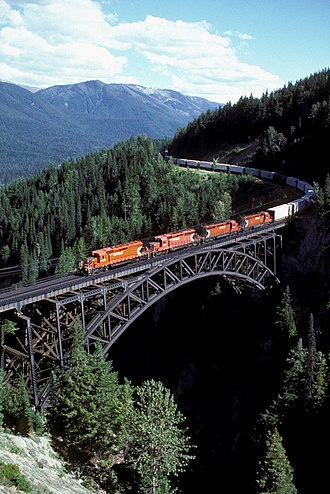 Canadian Pacific Railway - An eastbound CPR freight train at Stoney Creek Bridge descending from Rogers Pass