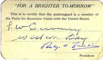 P. W. Crummey - PW Crummey's Economic Union Party Membership Card.