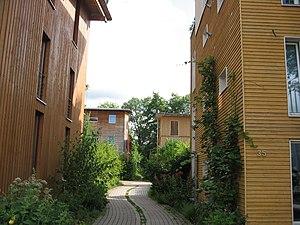 Vauban, Freiburg - Wooden panelling on some façades