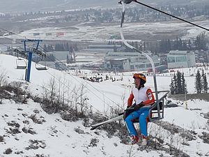 "Eddie ""The Eagle"" Edwards - Riding Ski Jump lift again 29 years later."