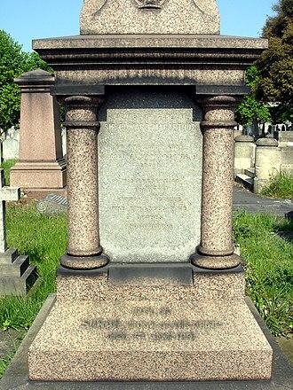 Edward Macarthur - Funerary monument (detail), Brompton Cemetery, London