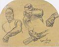 Egger-Lienz - Helden (Kaiserjäger, den Gewehrlauf vorhaltend, ein zweiter, die Hand vor dem Gesicht haltend, zwei Hände).jpeg