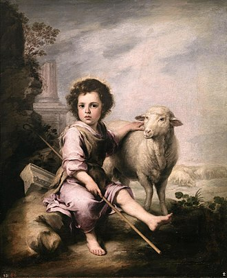 "Merino - One of the earliest depictions of a Merino. ""El Buen Pastor"" (The Good Shepherd) by Bartolomé Esteban Murillo, ca. 1650"