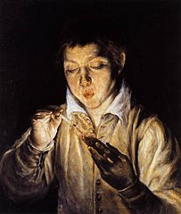 A Boy Blowing on an Ember to Light a Candle