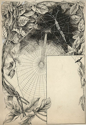Elizabeth Fearne Bonsall - Elizabeth Fearne Bonsall, The labyrinth spider's cocoon string, suspended within the maze above her leaf roofed tent, Henry Christopher McCook's spider atlas, 1893