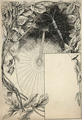 Henry Christopher McCook - Elizabeth Fearne Bonsall, The labyrinth spider's cocoon string, suspended within the maze above her leaf roofed tent, for Henry Christopher McCook's American Spiders and Their Spinning Work, 1893