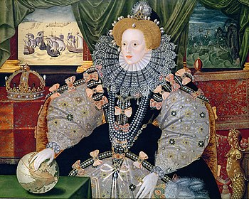 Portrait of Elizabeth made to commemorate the defeat of the Spanish Armada (1588), depicted in the background. Elizabeth's international power is symbolized by the hand resting on the globe.