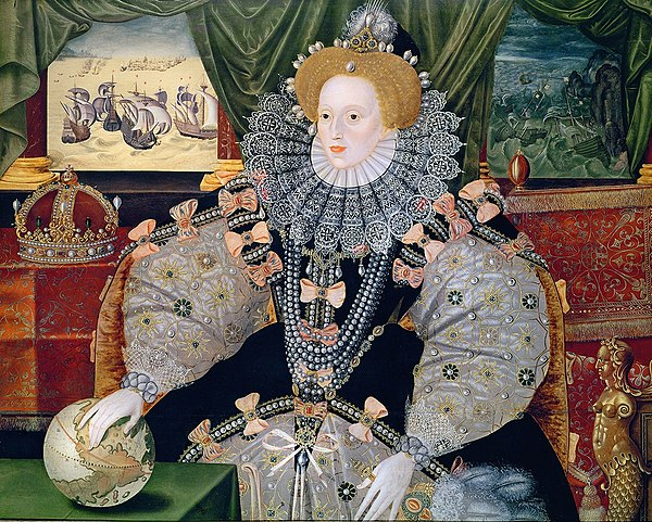 "Portrait commemorating the defeat of the Spanish Armada, depicted in the background. Elizabeth's hand rests on the globe, symbolising her international power. One of three known versions of the ""Armada Portrait"". Elizabeth I (Armada Portrait).jpg"