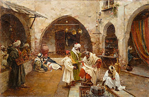 Head shaving - Barber at the souk (1897) by Enrique Simonet.