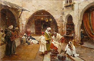 Head shaving - Barber at the souk (1897) by Enrique Simonet.