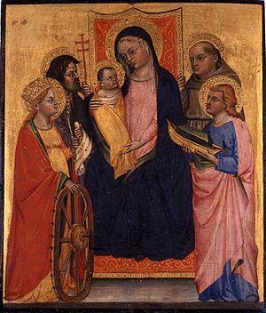Lippo di Dalmasio - Image: Enthroned Madonna with Child and Four Saints Lippo di Dalmasio, c. 1400