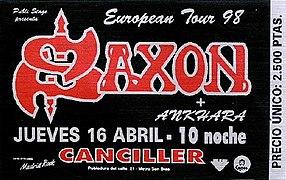 Entrada de concierto de Saxon con Ankhara de teloneros