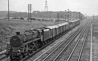 Erewash Valley line - Up goods train at Stoneyford Junction Box in 1963