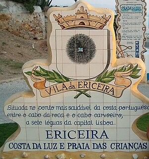 Ericeira - A azulejo plaque on the entrance to Ericeria
