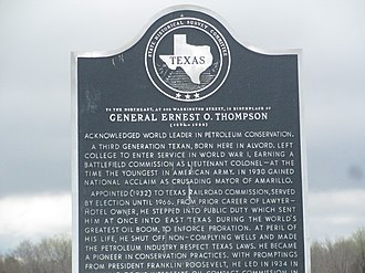 Alvord, Texas - Ernest O. Thompson historical marker in his town of birth, Alvord, Texas