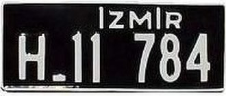 Vehicle registration plates of Turkey - Image: Eski Izmir Plaka