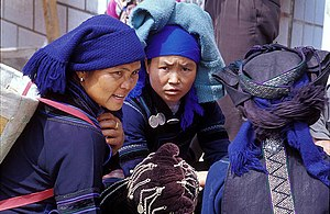 Hani people - Typical daily attire of ethnic Hani in China. In Yuanyang County, Yunnan Province.