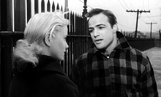 Marlon Brando - Brando with Eva Marie Saint in the trailer for On the Waterfront (1954).